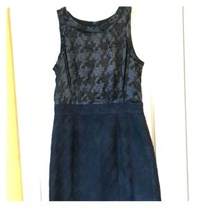 Navy Houndstooth Cocktail Dress
